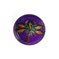 Czech Glass Buttons purple with pink & green handpainted dragonfly with metal shank 23mm