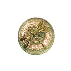 Czech Glass Buttons pink and purple iridescent with gold handpainted dragonfly with metal shank 23mm