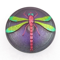 Czech Glass Buttons purple, pink & green handpainted dragonfly with metal shank 40mm