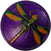 Czech Glass Buttons purple with green and orange handpainted dragonfly with metal shank 40mm