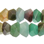 Blue Green Quartz 7 x 12mm faceted nugget blue & green