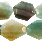 Blue Green Quartz 25 x 30mm faceted hexagon blue & green