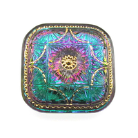 Czech Glass Buttons pink & green vitrail large square with intricate design and metal shank 32mm