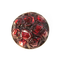 Czech Glass Buttons red with silver behind round with appearance of jewels and glass shank 27mm