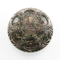 Czech Glass Buttons clear with multicolor glitter round with elegant deco design and metal shank 17mm