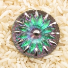 Czech Glass Buttons pink and green vitrail, color shifts stunning flower design with metal shank 32mm