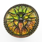 Czech Glass Buttons pink and green vitrail, color changing, with black lines accenting pattern. amazing floral type design with metal shank 34mm