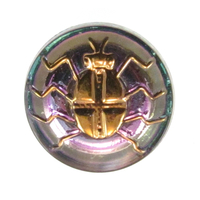 Czech Glass Buttons pink and blue with gold detail beautiful scarab beetle with metal shank 23mm