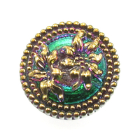 Czech Glass Buttons pink and green, color shifting, with gold detail detailed flower with metal shank 23mm