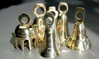 Bells 2 1/2 inch tall brass bells, assorted shapes