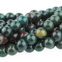 Image Large hole Bloodstone 8mm round dark green with red