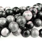 Black Silver Leaf Jasper 10mm round mixed colors