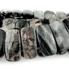Black Silver Leaf Jasper 10 x 20mm double drill rectangle mixed colors