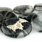 Black Silver Leaf Jasper 30 x 40mm oval mixed colors