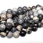 Black Silver Leaf Jasper 6mm round mixed colors