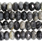 Black Silver Leaf Jasper 8mm faceted rondell mixed colors