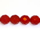 Carnelian Agate 6mm faceted round deep orange