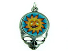 Charms steal your face with fimo sun antique silver 27 x 18mm