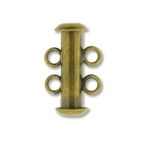 base metal 16mm 2 strand slider clasp antique brass plate