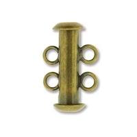 Image base metal 16mm 2 strand slider clasp antique brass plate