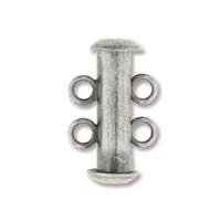 base metal 16mm 2 strand slider clasp antique silver plate