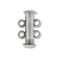 Image base metal 16mm 2 strand slider clasp antique silver plate