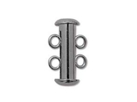 Image base metal 16mm 2 strand slider clasp gunmetal (black oxide)