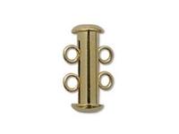 Image base metal 16mm 2 strand slider clasp gold plate