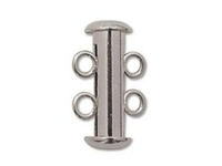 Image base metal 16mm 2 strand slider clasp silver plate