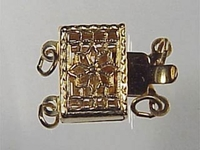 14k goldfill 7 x 11mm filigree rectangle 2 strand clasp gold