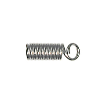 base metal spring coil with loop, 3/32 inch opening cord end nickel plate