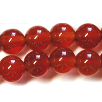 Carnelian Agate 10mm round deep orange