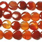 Carnelian Agate 12mm coin deep orange