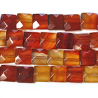 Carnelian Agate 12mm faceted square deep orange