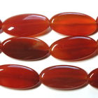 Carnelian Agate 15 x 30mm oval deep orange