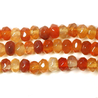 Carnelian Agate 4mm faceted rondell deep orange