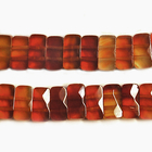 Carnelian Agate 5 x 10mm double drill faceted rectangle deep orange