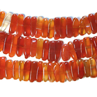 Carnelian Agate 5 x 15mm long flat chip deep orange