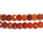 Carnelian Agate 8mm faceted rondell deep orange