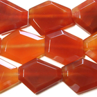 Carnelian Agate 25 x 30mm faceted hexagon deep orange