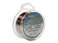 Craft Wire 22 gauge round antique copper