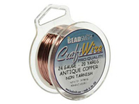 Craft Wire 24 gauge round antique copper