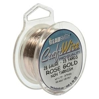 Craft Wire 28 gauge round rose gold