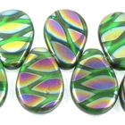 Czech Pressed Glass 12 x 18mm flat teardrop green with iridescent design transparent