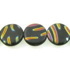 Czech Pressed Glass 14mm flat circle or coin matte black with iridescent design matte opaque