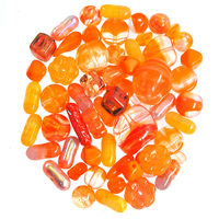 Orange Czech Pressed Glass Bead Mix - Assorted Sizes, Shapes and Colors