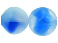 Czech Pressed Glass 12mm multi sided round white opal with sapphire blue transparent and opalescent