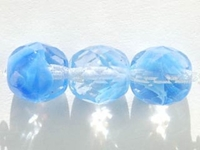 Czech Pressed Glass 10mm faceted round clear with opal blue transparent