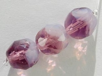 Czech Pressed Glass 7.5mm faceted round purple with opal transparent