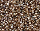 Seed Beads Miyuki delica size 11 white lined saffron ab color lined iridescent